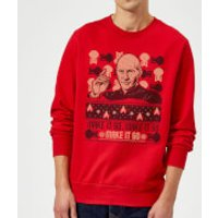Star Trek: The Next Generation Make It So Christmas Sweatshirt - Red - S - Red