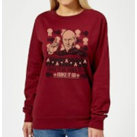 Star Trek: The Next Generation Make It So Women's Christmas Sweatshirt - Burgundy - XS - Burgundy