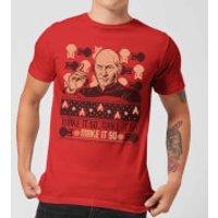 Star Trek: The Next Generation Make It So Men's Christmas T-Shirt - Red - XXL - Red
