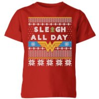 Wonder Woman 'Sleigh All Day Kids' Christmas T-Shirt - Red - 11-12 Years - Red - Woman Gifts