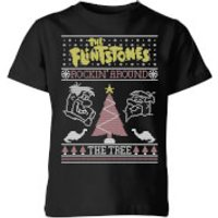Flintstones Rockin Around The Tree Kids' Christmas T-Shirt - Black - 3-4 Years - Black