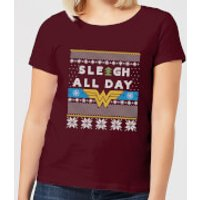 Wonder Woman 'Sleigh All Day Women's Christmas T-Shirt - Burgundy - XXL - Burgundy - Woman Gifts