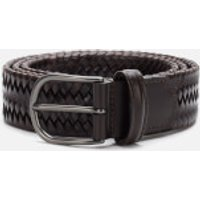 Anderson's Men's Matt Buckle Woven Belt - Dark Brown - W30/S