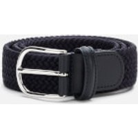 Anderson's Men's Polished Silver Buckle Woven Belt - Navy - W32/M
