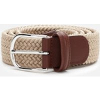 Anderson's Men's Polished Silver Buckle Woven Belt - Beige - W30/S