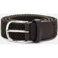 Anderson's Men's Polished Silver Buckle Woven Belt - Green - W32/M
