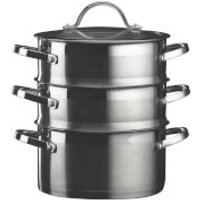 Denby Stainless Steel 3 Layer Steamer with Glass Lid