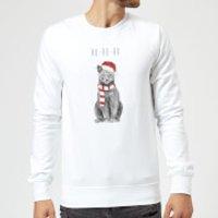 Ho Ho Ho Christmas Cat Sweatshirt - White - S - White