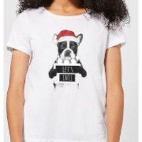 Let It Snow Frenchie Christmas Women's T-Shirt - White - XXL - White - Snow Gifts