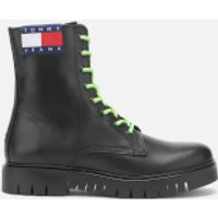 Tommy Jeans Womens Neon Detail Leather Lace Up Boots - Black - UK 7