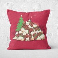 Good Night Xmas Bear Square Cushion - 60x60cm - Eco Friendly - Eco Gifts