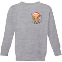Tobias Fonseca Sloth In A Pocket Xmas Kids' Sweatshirt - Grey - 5-6 Years - Grey