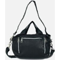 shop for Núnoo Women's Donna Washed Leather Shoulder Bag - Black at Shopo