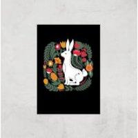 Scandi Rabbit Pattern Art Print - A2 - Print Only