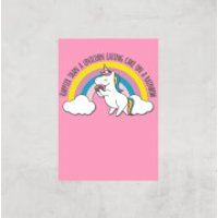 Happier Than A Unicorn Eating Cake Art Print - A2 - Print Only - Eating Gifts