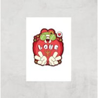 Hippie Love Cartoon Art Print - A2 - Print Only - Hippie Gifts