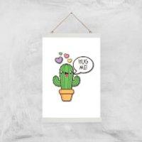 Hug Me Cactus Art Print - A3 - Wood Hanger