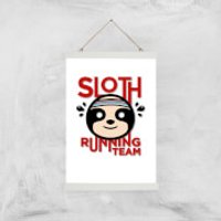 Sloth Running Team Art Print - A3 - Wood Hanger - Athletics Gifts