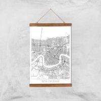 City Art Black and White Outlined New orleans Map Art Print - A3 - Wood Hanger