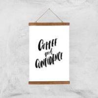 PlanetA444 Coffee and Confidence Art Print - A3 - Wood Hanger