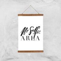 PlanetA444 No Selfie Area Art Print - A3 - Wood Hanger - Selfie Gifts