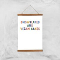 Snowflakes And Vegan Cakes Art Print - A3 - Wood Hanger - Cakes Gifts