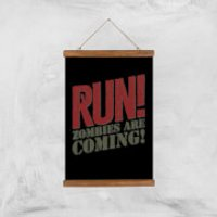 RUN! Zombies Are Coming! Art Print - A3 - Wood Hanger - Zombies Gifts
