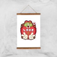 Hippie Love Cartoon Art Print - A3 - Wood Hanger - Hippie Gifts