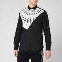 Neil Barrett Men's Fairisle Thunderbolt Shirt - White/Black - XL