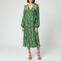 ROTATE Birger Christensen Women's Kira Midi Dress - Stone Green - DK 34/UK 8