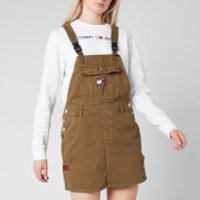 Tommy Jeans Womens Dungaree Dress - Olive Tree Twill - M