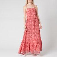 Tommy Jeans Womens TJW Floral Maxi Strap Dress - Floral Print/Deep Crimson - M