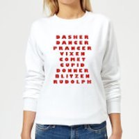 Reindeer Line Up Women's Sweatshirt - White - L - White