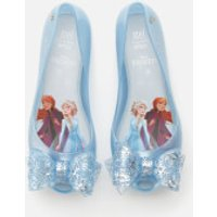 Mini Melissa Kids' Disney Frozen Ultragirl Ballet Flats - Sky Glitter Frost Bow - UK 1 Kids