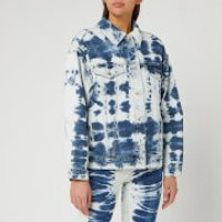 MSGM Womens Bleached Denim Jacket - Blue/ White - XS