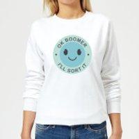 Ok Boomer Blue Smile Women's Sweatshirt - White - XL - White
