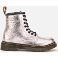 Dr. Martens Kids 1460 J Crinkle Metallic Lace Up Boots - Pink Salt - UK 10 Kids