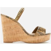 Kurt Geiger London Women's Alexia Leather Wedged Sandals - Tan Comb - UK 6