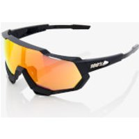 100% Speedtrap Sunglasses with HiPER Mirror Lens - Soft Tact Black/Red Lens
