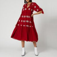 Free People Womens Celestial Skies Maxi Dress - Red Combo - M