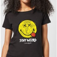 Stay Weird Upside Down Smiley Women's T-Shirt - Black - XXL - Black - Smiley Gifts