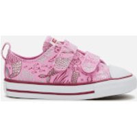 Converse Toddlers' Chuck Taylor All Star 2V Mermaid Ox Trainers - Peony Pink/Rose Maroon/White - UK