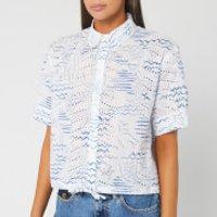 KENZO Women's Cropped Drawstring Shirt - Duck Blue - UK 10/EU 40