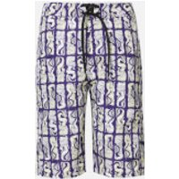 KENZO Men's All Over Print Long Swimshorts - Plum Blue - L
