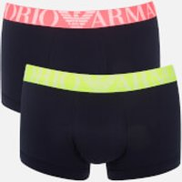 Emporio Armani Men's Fluo Waistband 2 Pack Trunk Boxer Shorts - S