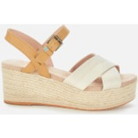 TOMS Women's Shimmer Willow Wedges - Natural - UK 3