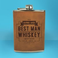 Best Man Whiskey Engraved Hip Flask - Brown - Best Man Gifts
