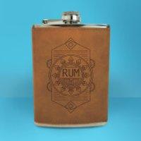 Rum Line Seal Engraved Hip Flask - Brown - Engraved Gifts