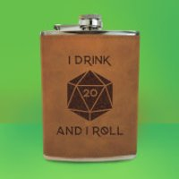 I Drink And I Roll D20 Engraved Hip Flask - Brown - Engraved Gifts