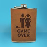 Groom Game Over Engraved Hip Flask - Brown - Engraved Gifts